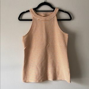 Mustard & white striped top from Anthropologie